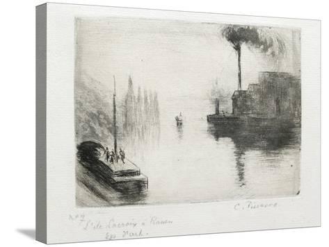 L'Ile Lacroix, À Rouen, 1883 (Drypoint, Etching, Metal Brush and Open Bite)-Camille Pissarro-Stretched Canvas Print