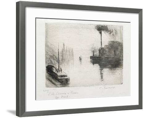 L'Ile Lacroix, À Rouen, 1883 (Drypoint, Etching, Metal Brush and Open Bite)-Camille Pissarro-Framed Art Print
