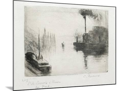 L'Ile Lacroix, À Rouen, 1883 (Drypoint, Etching, Metal Brush and Open Bite)-Camille Pissarro-Mounted Giclee Print
