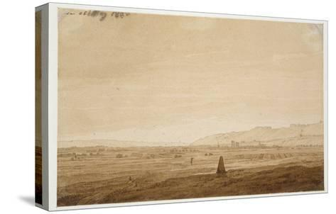Landscape with an Obelisk, 1803 (Point of the Brush in Brown Ink and Sepia on Off-White Paper)-Caspar David Friedrich-Stretched Canvas Print