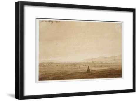 Landscape with an Obelisk, 1803 (Point of the Brush in Brown Ink and Sepia on Off-White Paper)-Caspar David Friedrich-Framed Art Print