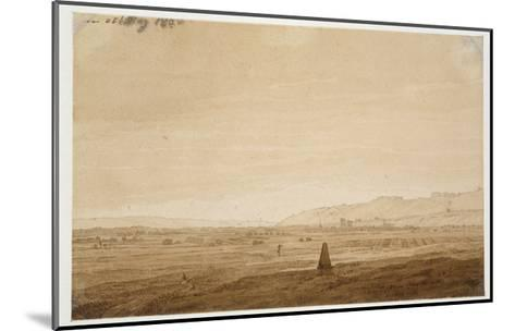Landscape with an Obelisk, 1803 (Point of the Brush in Brown Ink and Sepia on Off-White Paper)-Caspar David Friedrich-Mounted Giclee Print