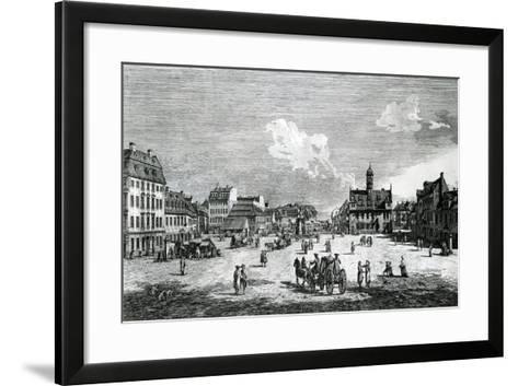 View of Dresden-Bernardo Belotto Canaletto-Framed Art Print