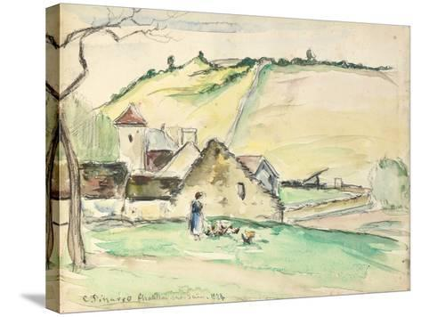 The Farm at Chatillon-Sur-Seine, 1882 (W/C, Wash and Charcoal on Paper)-Camille Pissarro-Stretched Canvas Print