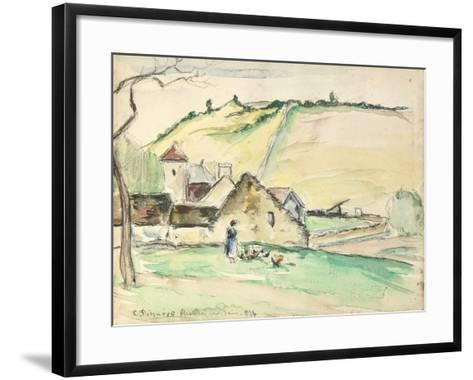 The Farm at Chatillon-Sur-Seine, 1882 (W/C, Wash and Charcoal on Paper)-Camille Pissarro-Framed Art Print