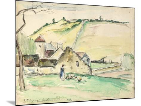The Farm at Chatillon-Sur-Seine, 1882 (W/C, Wash and Charcoal on Paper)-Camille Pissarro-Mounted Giclee Print