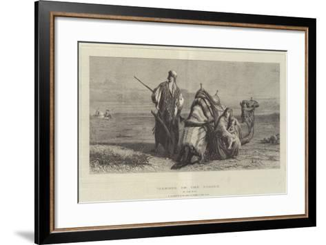 Danger in the Desert, in the Exhibition of the Society of Painters in Water Colours-Carl Haag-Framed Art Print