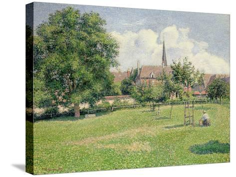 The House of the Deaf Woman and the Belfry at Eragny, 1886-Camille Pissarro-Stretched Canvas Print