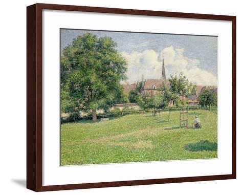 The House of the Deaf Woman and the Belfry at Eragny, 1886-Camille Pissarro-Framed Art Print