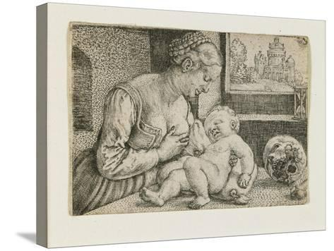 Mother and Child with Skull and Hourglass, C. 1528-1530-Barthel Beham-Stretched Canvas Print