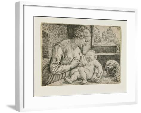 Mother and Child with Skull and Hourglass, C. 1528-1530-Barthel Beham-Framed Art Print