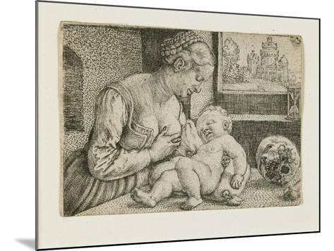 Mother and Child with Skull and Hourglass, C. 1528-1530-Barthel Beham-Mounted Giclee Print