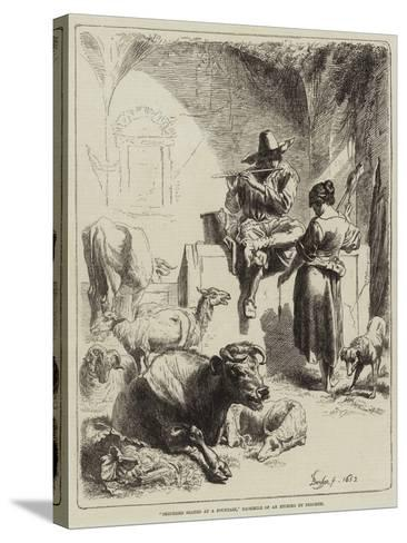 Shepherd Seated at a Fountain-Benjamin Herring-Stretched Canvas Print
