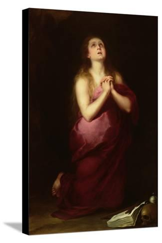 Mary Magdalene, 1650-55-Bartolome Esteban Murillo-Stretched Canvas Print