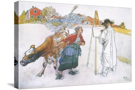 Along Came Joanna Leading Blomma the Cow-Carl Larsson-Stretched Canvas Print