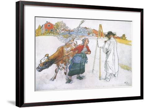 Along Came Joanna Leading Blomma the Cow-Carl Larsson-Framed Art Print