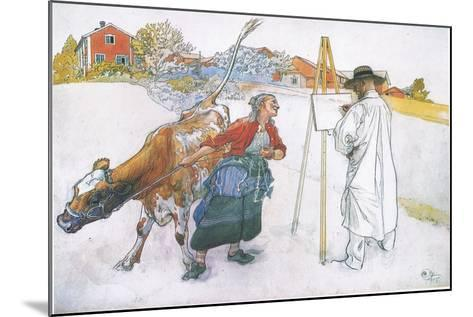 Along Came Joanna Leading Blomma the Cow-Carl Larsson-Mounted Giclee Print