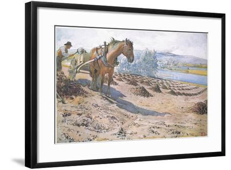 Muck Spreading on a Fallow Field-Carl Larsson-Framed Art Print