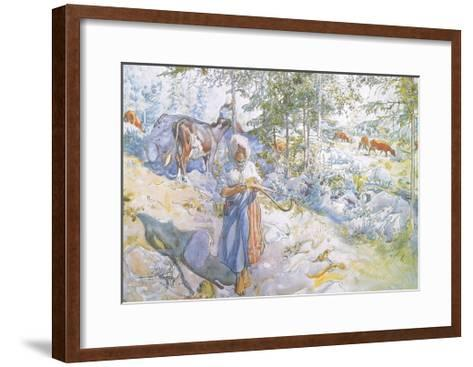 Last of All Came Little Kertsi with a Willow Twig to Drive the Cows-Carl Larsson-Framed Art Print