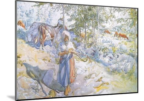 Last of All Came Little Kertsi with a Willow Twig to Drive the Cows-Carl Larsson-Mounted Giclee Print