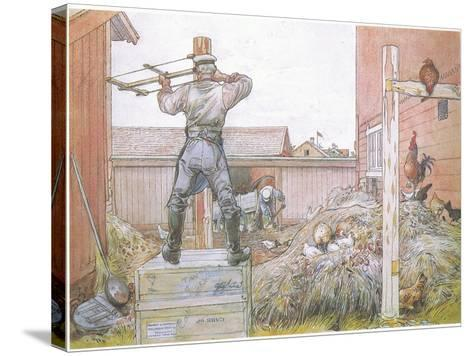 The Cock Went on Crowing All the Time Elfstrom Sawed and Hammered-Carl Larsson-Stretched Canvas Print