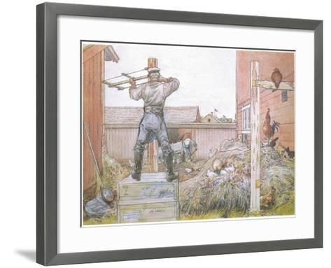 The Cock Went on Crowing All the Time Elfstrom Sawed and Hammered-Carl Larsson-Framed Art Print