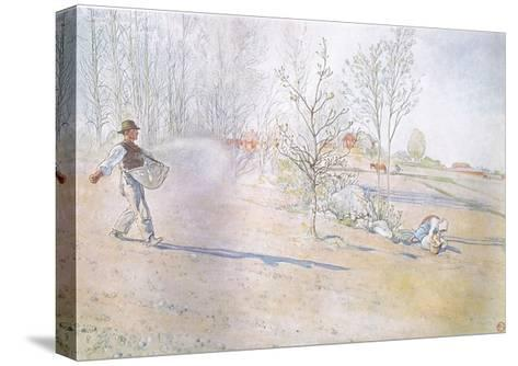 Johan Carried the Oats in a Big Open Bag Fastened by Straps-Carl Larsson-Stretched Canvas Print