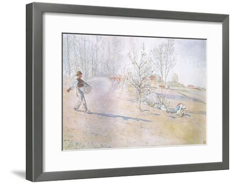 Johan Carried the Oats in a Big Open Bag Fastened by Straps-Carl Larsson-Framed Art Print