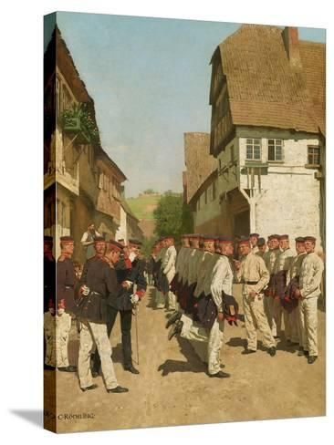 Roll-Call During on Maneuvers, before 1894-Carl Rochling-Stretched Canvas Print
