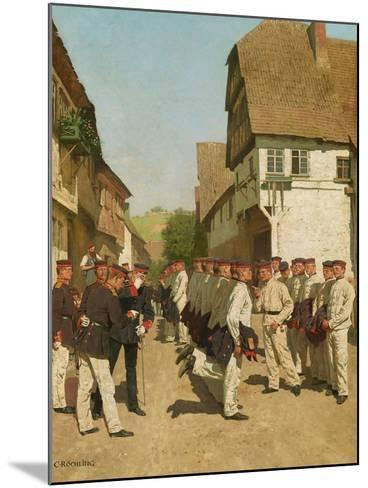 Roll-Call During on Maneuvers, before 1894-Carl Rochling-Mounted Giclee Print