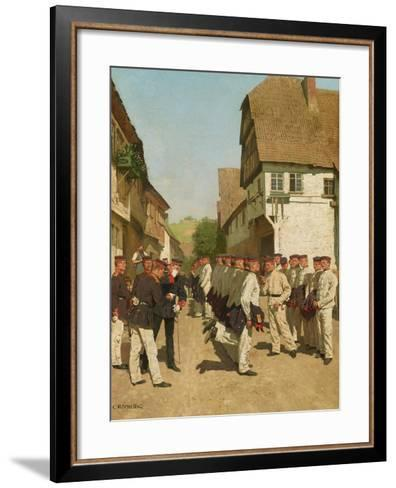 Roll-Call During on Maneuvers, before 1894-Carl Rochling-Framed Art Print