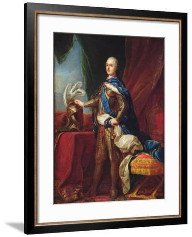 Portrait of Louis XV in Armour-Carle van Loo-Framed Art Print