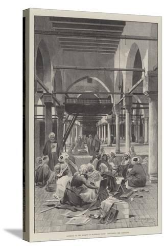 Interior of the Mosque of El-Azhar, Cairo, Discussing the Campaign-Charles Auguste Loye-Stretched Canvas Print