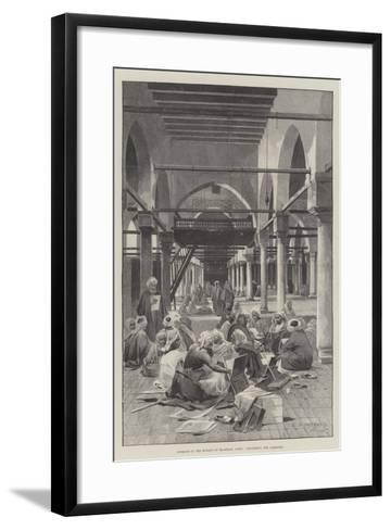Interior of the Mosque of El-Azhar, Cairo, Discussing the Campaign-Charles Auguste Loye-Framed Art Print