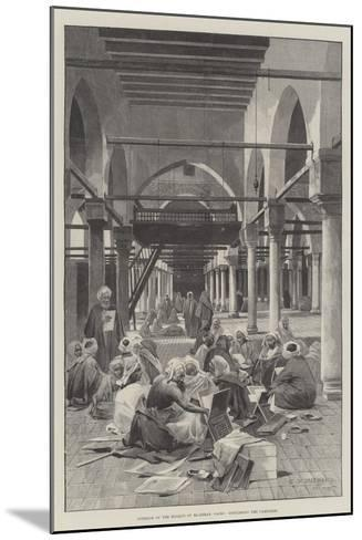 Interior of the Mosque of El-Azhar, Cairo, Discussing the Campaign-Charles Auguste Loye-Mounted Giclee Print