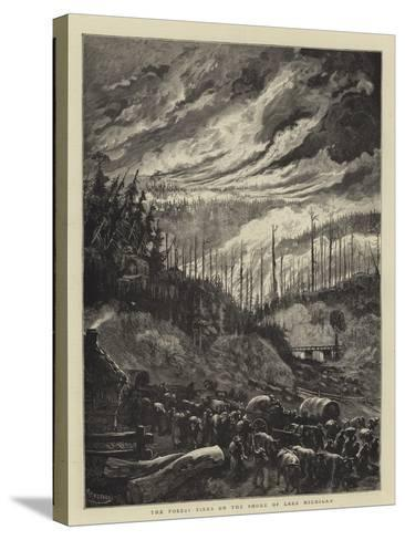 The Forest Fires on the Shore of Lake Michigan-Charles Auguste Loye-Stretched Canvas Print
