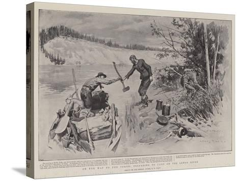 On the Way to the Yukon, Preparing to Camp on the Lewes River-Charles Edwin Fripp-Stretched Canvas Print
