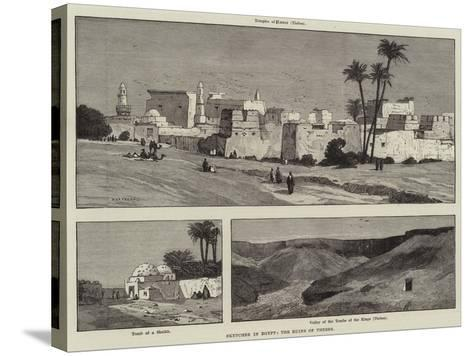 Sketches in Egypt, the Ruins of Thebes-Charles Auguste Loye-Stretched Canvas Print