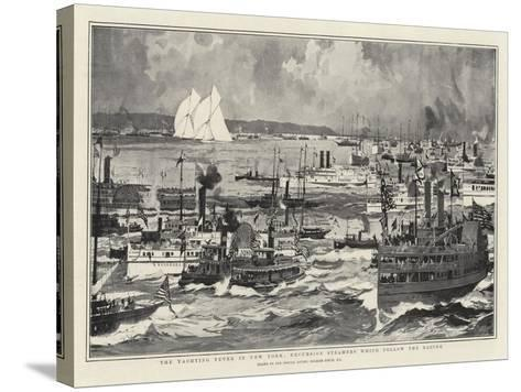 The Yachting Fever in New York, Excursion Steamers Which Follow the Racing-Charles Edward Dixon-Stretched Canvas Print