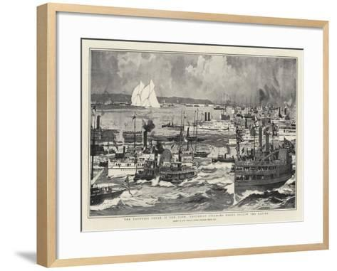 The Yachting Fever in New York, Excursion Steamers Which Follow the Racing-Charles Edward Dixon-Framed Art Print