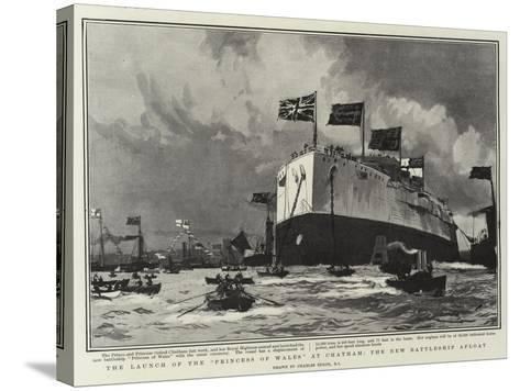 The Launch of the Princess of Wales, at Chatham, the New Battleship Afloat-Charles Edward Dixon-Stretched Canvas Print