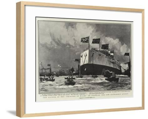 The Launch of the Princess of Wales, at Chatham, the New Battleship Afloat-Charles Edward Dixon-Framed Art Print
