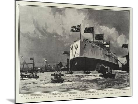 The Launch of the Princess of Wales, at Chatham, the New Battleship Afloat-Charles Edward Dixon-Mounted Giclee Print