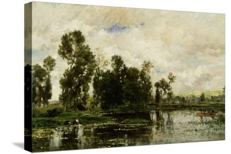 The Edge of the Pond, 1873-Charles Francois Daubigny-Stretched Canvas Print