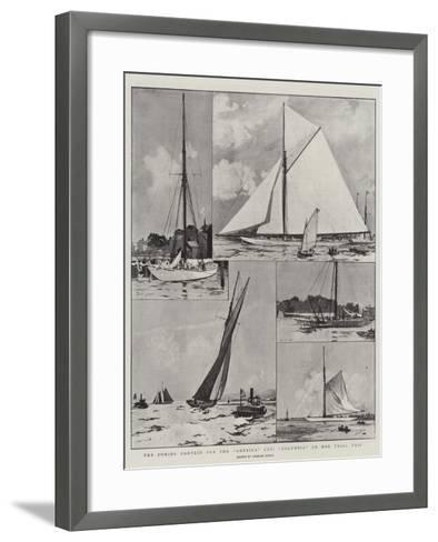 The Coming Contest for the America Cup, Columbia on Her Trial Trip-Charles Edward Dixon-Framed Art Print