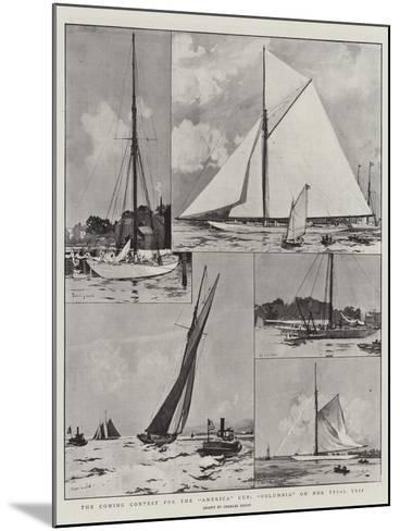 The Coming Contest for the America Cup, Columbia on Her Trial Trip-Charles Edward Dixon-Mounted Giclee Print