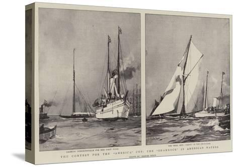 The Contest for the America Cup, the Shamrock in American Waters-Charles Edward Dixon-Stretched Canvas Print