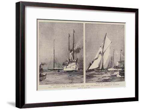 The Contest for the America Cup, the Shamrock in American Waters-Charles Edward Dixon-Framed Art Print
