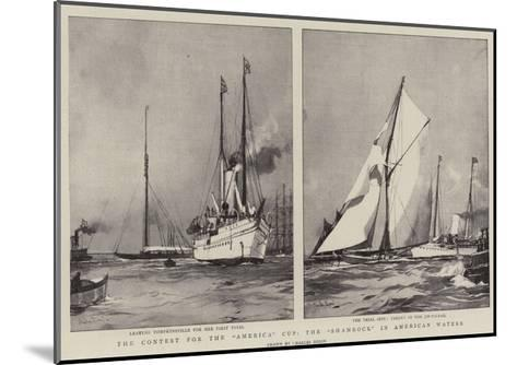 The Contest for the America Cup, the Shamrock in American Waters-Charles Edward Dixon-Mounted Giclee Print