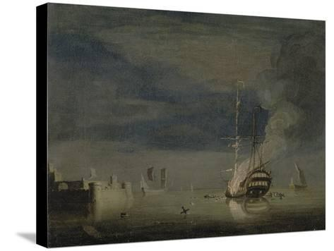 A Two-Decker on Fire at Night Off a Fort, C.1740-Charles Brooking-Stretched Canvas Print